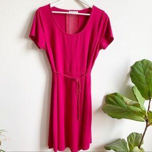 San Francisco Hot Pink Midi Dress Stretch Rayon L